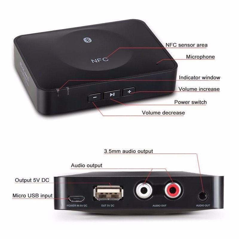NFC Bluetooth Wireless Desktop Stereo Audio Music Receiver DVD Player Car Speaker USB Adapter  (14)