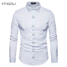hot deal buy ffxzsj brand2018 spring royal court style solid  floral  embroidered  solid dress lapel shirt slim fit casual long sleeve shirt