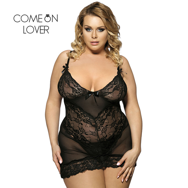 Comeonlover Plus Size Lingerie See Through Erotic Lingeries Fashion Seductive Porn Lingerie Nuisette Sexy Nightwear RI70218 1