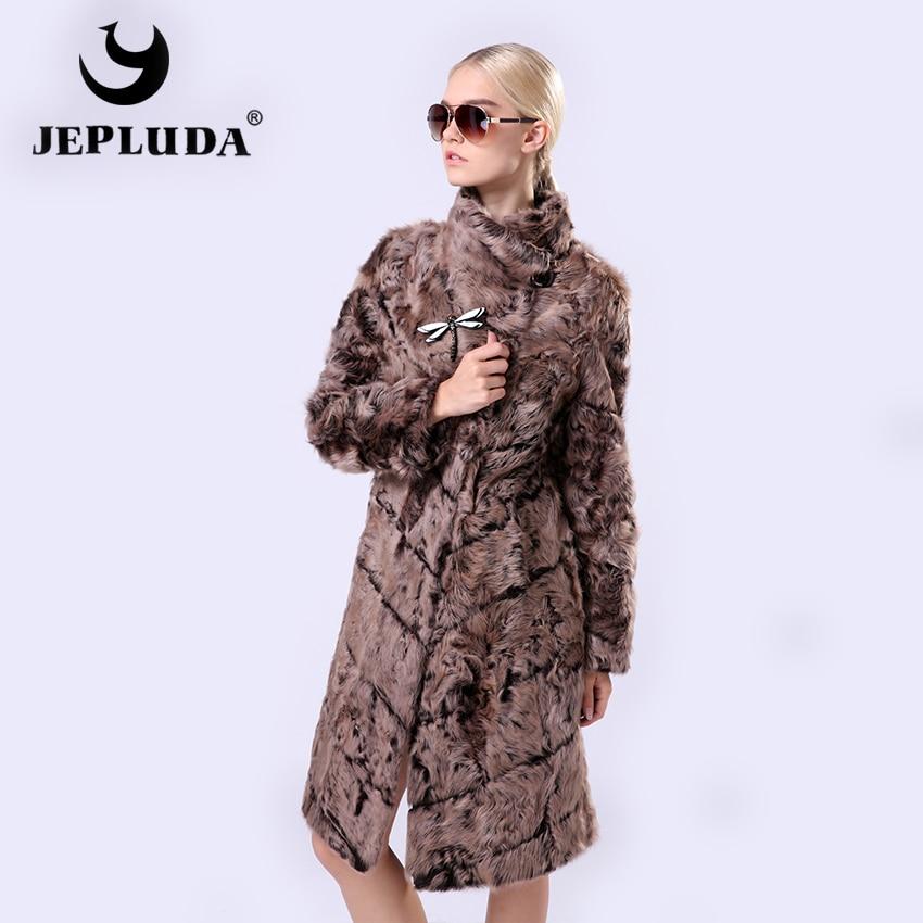 JEPLUDA Double Sided Winter Women Real Lamb Fur Coat Slim Long Turn-down Collar Real Fur Coat Natural Fur Coat Winter Jackets