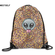 SAMCUSTOM 3D Print Alien and Pizza Delivery Shoulders Bag Women Fabric Backpack Girls Beam Port Drawstring Dust Storage Bags(China)