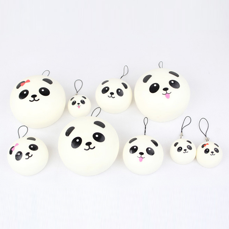 100pcs/Lot Fun Squishy Cartoon Panda Kawaii Squishies Slow Rising Jumbo Cell Phone Charm Straps Squeeze Toys For Kids Wholesale