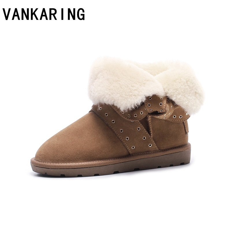 VANKARING Australia women snow boots genuine cowhide leather fur ankle boots woman warm winter boots ladies flat platform shoes keaiqianjin woman studded snow boots pink black winter genuine leather flat shoes flower platform fur crystal ankle boot 2017