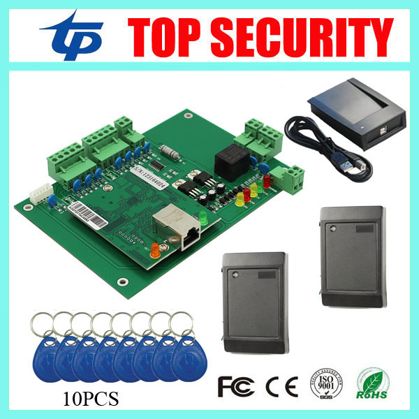 One door access control board access control panel smart card access control system with RFID card readers and USB card reader smart card reader door access control system 125khz smart rfid card proximity card door access control reader 10pcs rfid keys