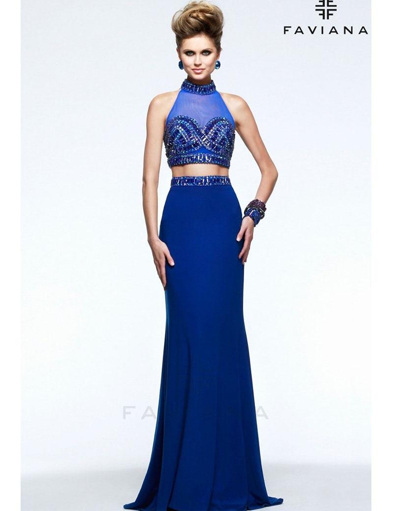 Two Piece Evening Dress High Neck Chiffon Royal Blue Evening Gown ...