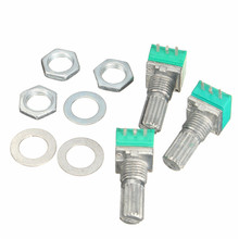 3Pcs 6mm Single Linear B Type10K ohm Rotary Potentiometer 15mm Knurled Shaft Rotary Potentiometers 10K Ohm With Nuts And Washers(China (Mainland))