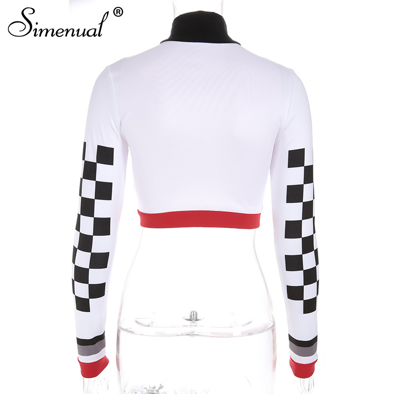 933d611fe25 Simenual Checkerboard t shirt women zipper pachtchwork crop tops ...