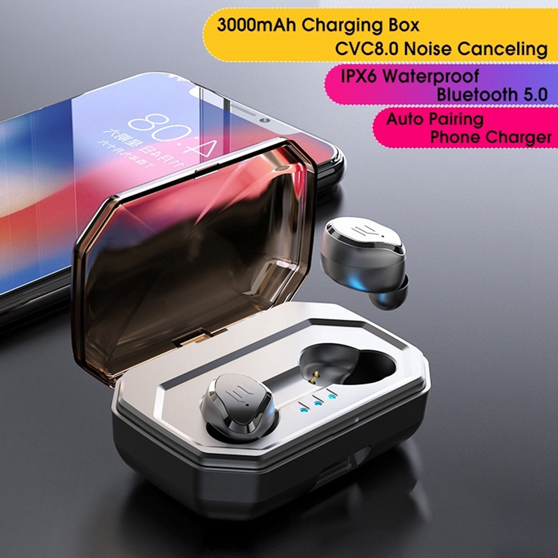 TWS S8 Plus IPX6 Waterproof Wireless Bluetooth Headset Touch Control Stereo Sound Earphones With Mic & 3000mAh Charging Case