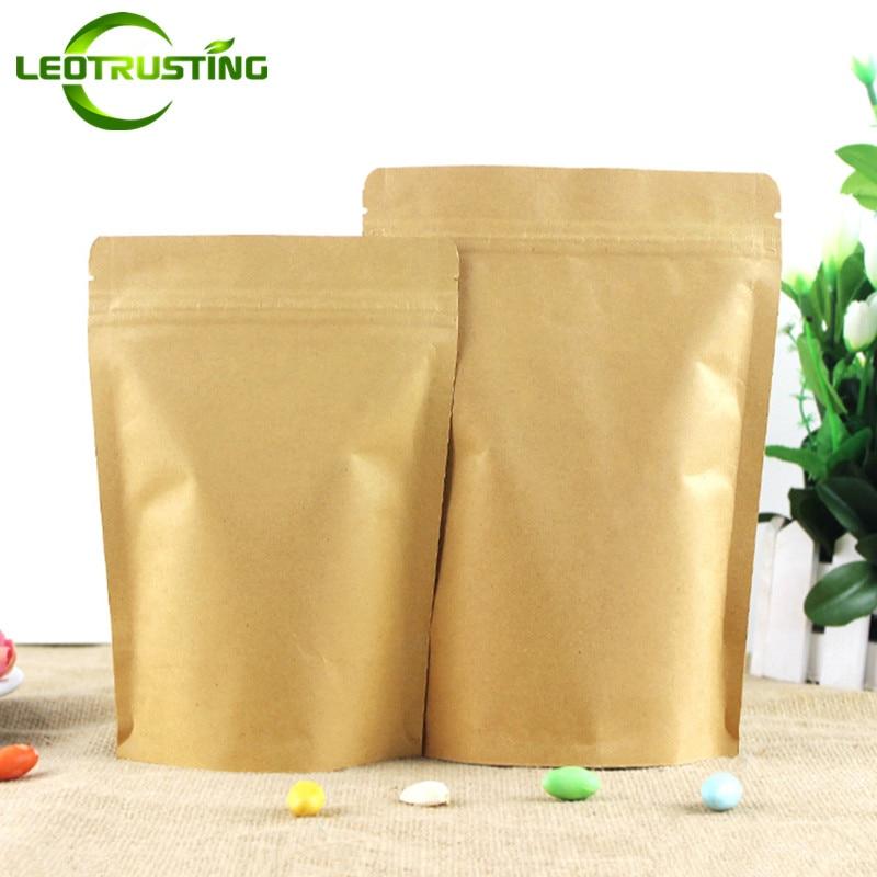 Leotrusting 50pcs Stand Up Kraft Paper Ziplock Bag Mylar Foil Packaging Bag High Barrier Kraft Paper Zipper Coffee Bag Gift Bag