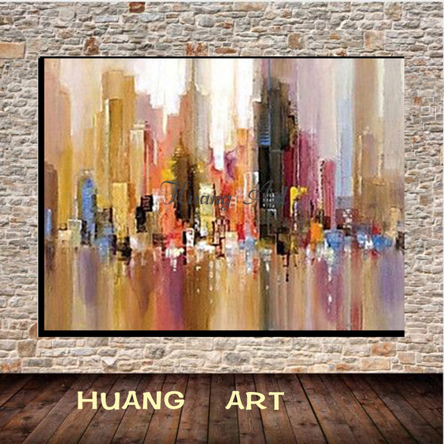 fashion colors modern abstract hand painted abstract cityscape oil