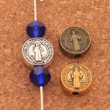 300pcs 9x9mm Antique Silver/Gold/Bronze Saint Benedict Medal Cross Crucifix Smqlivb Spacers Beads Handmade Jewelry DIY L1665