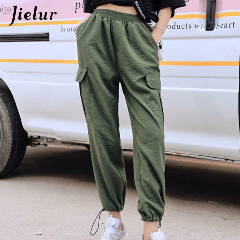 Jielur Pantalones Cargo Coreanos Para Mujer Pantalon De Cintura Alta Ropa De Calle Femenina A La Moda 2020 Pantalones Y Pantalones Capri Aliexpress