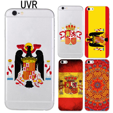 UVR Brand phone case for iphone 5 5s 6 6s 7 8 plus X 6plus soft TPU Transparent Spain national flag cover pattern case