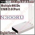English TOTOLINK N300RU Wireless N 300Mbps WiFi Router WiFi Repeater with USB 2.0 Port Supports Printer Server/FTP Server PROM-