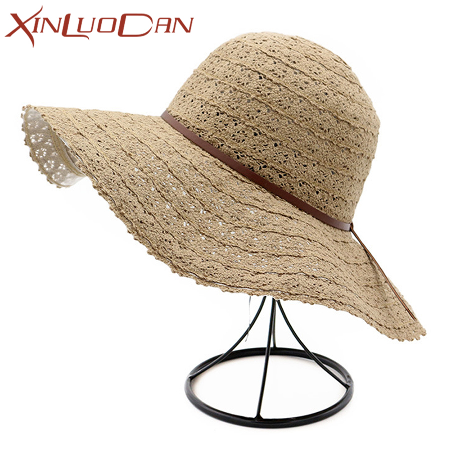 2f8d858ade1b9e Detail Feedback Questions about Big Summer Hats For Women Sun Visor Hat  Holiday Beach Hat Casual Cap Wide Brim Ladies Straw Summer Hat For Girls  Collapsible ...