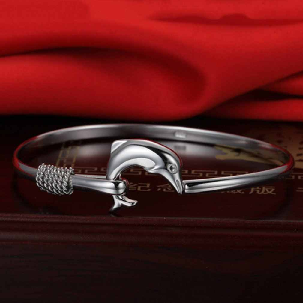 Women Jewelry Stack Bangle Cuff Dolphin Charm Bracelet High Polished Adjustable Bracelet Anniversary Gift Charm Jewelry