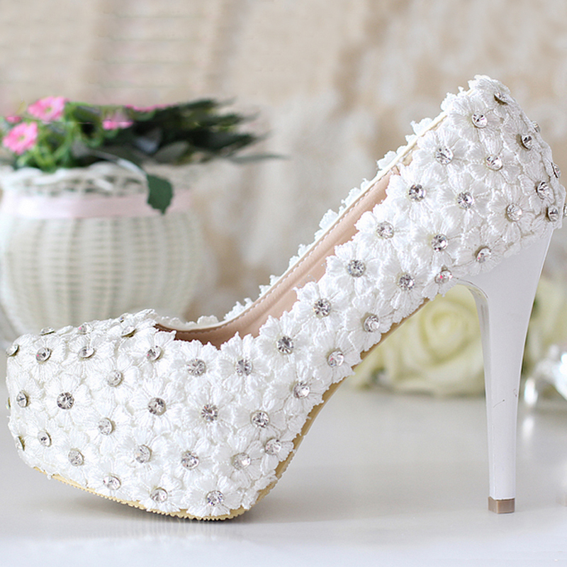 ФОТО New Arrival Pink Lace Flower High-heeled Shoes Elegant Bridal Dress Shoes Lady Spring High Heels Bridesmaid Shoes