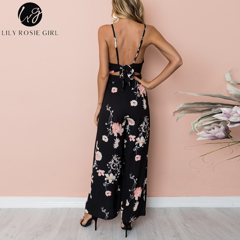 573cb6f7c92e Lily Rosie Girl Sexy V Neck Black Floral Print Women Jumpsuits Casual Boho  Bow Backless Playsuits Summer Overalls Ladies Rompers-in Jumpsuits from  Women s ...