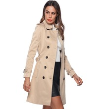 2018 Autumn Woman Classic Double Breasted Trench Coat Waterproof Raincoat Busine