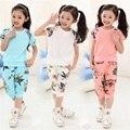 2016 новых девушек комплект одежды = (короткая майка + брюки 2 Шт.) детские летние костюмы детская Мода набор одежда для новорожденных наборы костюм 4-10Y