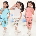 2016 new girls clothing set=(short t shirt+pant 2Pcs) kids' summer suits Fashion children's set baby clothing sets suit 4-10Y
