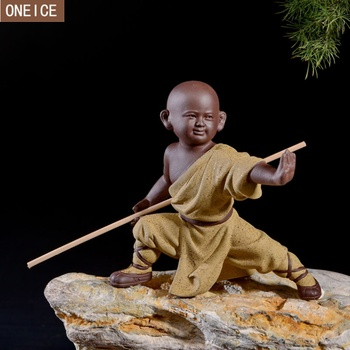 Small monk sculpture statue ceramic home decoration crafts Chinese style tea set sculpture Buddha statue best gift free delivery 1