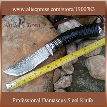 DT013 handmade damascus knife for camping goat horn ox horn G10 handle outdoor knife unfoldable hunting knife