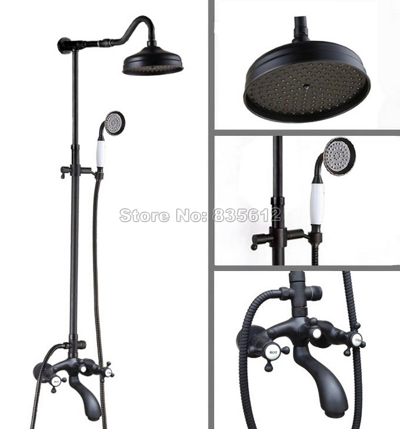 Wall Mounted Black Oil Rubbed Bronze Bathroom Rain Shower Faucet Set / Dual Holder Dual Control Bath Tub Mixer Tap Whg614