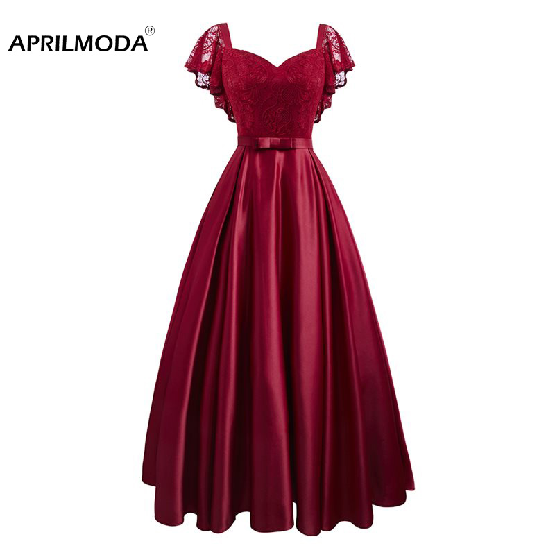 Summer Party Date Satin Hollow Out Floral Lace Long Dress Women Short Sleeve Spring Summer Burgundy Red Casual Lace Maxi Dresses