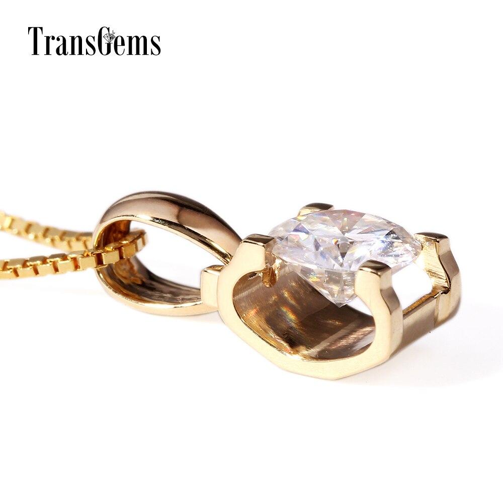 TransGems 18 Karat Gelbgold 1 Karat 6,5 mm Labor Moissanite Diamant - Edlen Schmuck - Foto 5