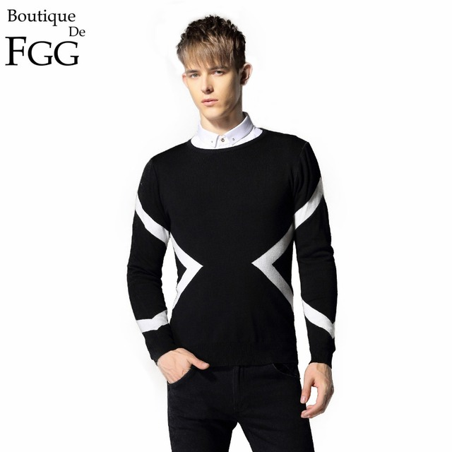 Plus Size M-5XL Black\Navy Blue Famous Brand Stylish Striped Print Knitting O Neck Men Pullovers Sweaters Long Sleeves Slim