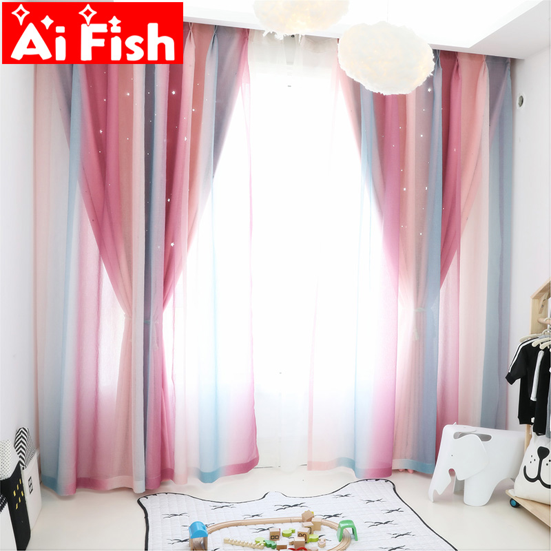 Gradient Stripe Tulle+Solid Hollow Star Cloth Thick Shading Curtains For Living Room Nordic Window Curtain Fabric Drape DF037-40