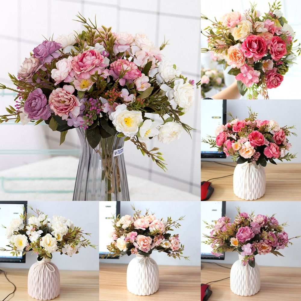 Us 12 14 Offfengrise Artificial Silk Rose Flower Decoration Rustic Wedding Decoration Valentines Day Party Decor Baby Shower Girl Favors In Party