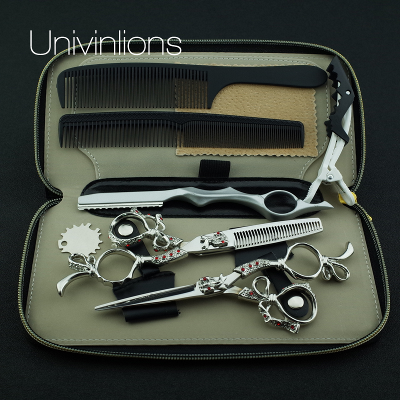 "Univinlions 6 ""salon de coiffure scheermes kappersscharen kapper japan professionele haar schaar kapper dunner shears"