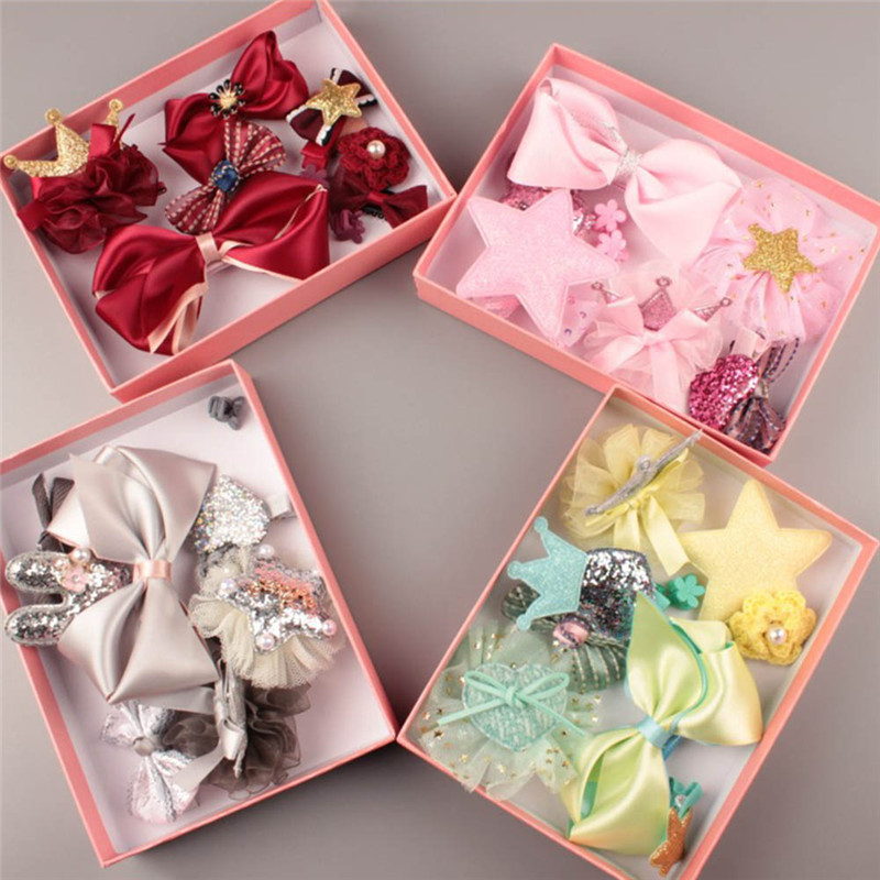 купить 10 PCS Baby Headdress Set Girl Headband Baby Supplies Bow Knot Hairpin Hair Accessories Hair Rope Headwear Hair Clip Crown недорого