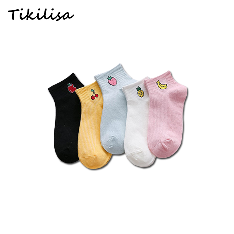 Women Socks Casual Cotton Korea Fruits Fashion College Short Slippers Female Girl Cherry Cute Boat Socks 1 Pair