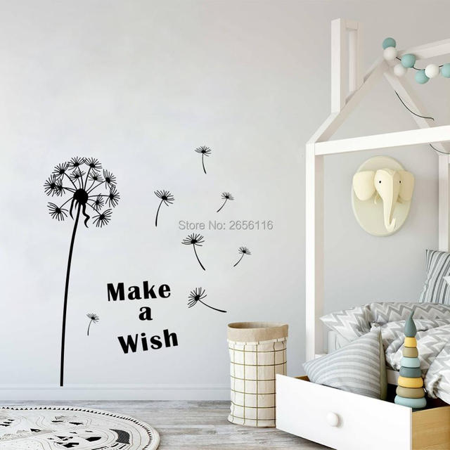 dandelion wall sticker make a wish quote diy wall decal modern vinyl