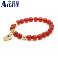 2014 New Products Wholesale Best Quality Natural Red And Black Agate New Brand Gold Fatima Hand