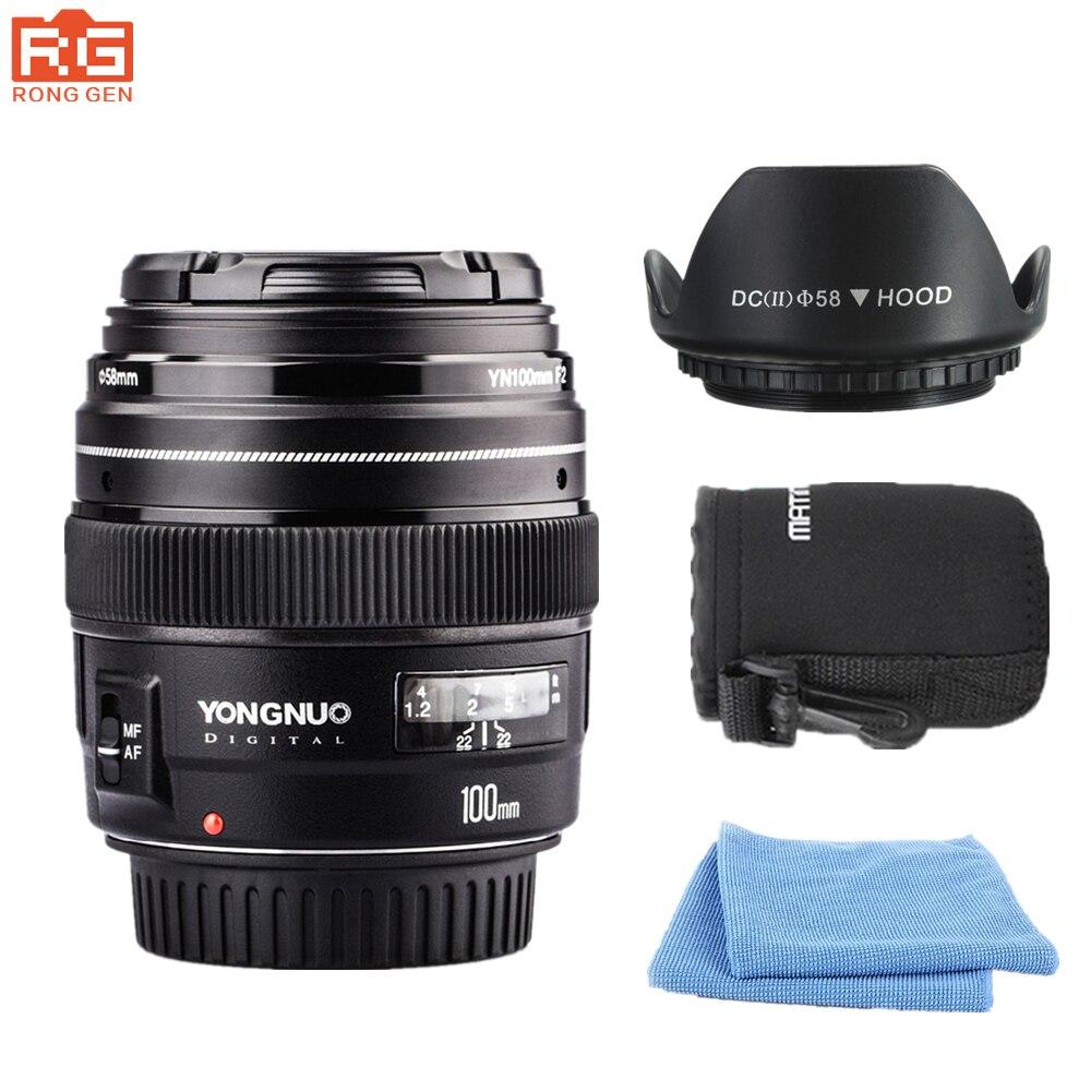 YONGNUO YN100mm F2 Moyen Téléobjectif Premier Objectif pour Canon EOS Rebel AF MF 5D 5DIV 1300D T6 760D 750D 1D 5D Livraison lentille sac