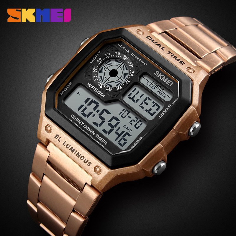 SKMEI Men Sports Watch Man Count Down Waterproof Watch Stainless Steel Fashion Digital Wristwatches Male Clock Relogio Masculino