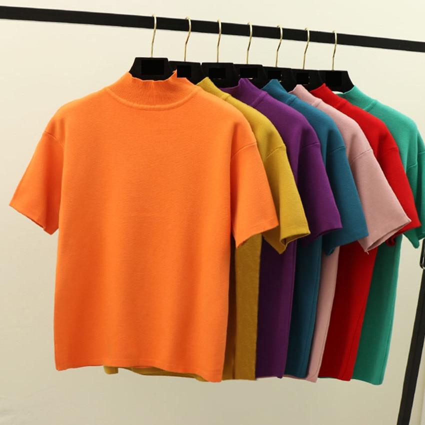 2019 Summer Knitted Tops Women T shirt High Elasticity High Neck Short Sleeves Tee Shirt Femme Breathable Female Tshirt Knitwear