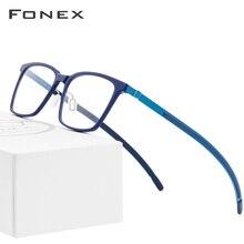 B очки из чистого титана, оправа для мужчин, ацетат, новинка, высокое качество, квадратные очки для близорукости, оптические очки по рецепту, Безвинтовые очки 9106