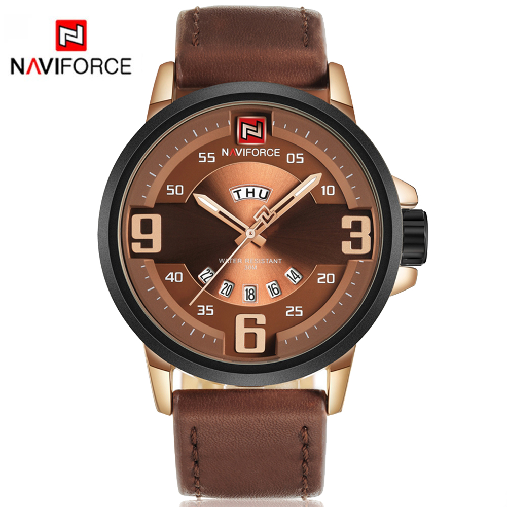 цена на Army Watch Men NAVIFORCE Luxury Brand Sports Military Clock Leather Strap Quartz Wristwatches Waterproof Army Watch Box LX64