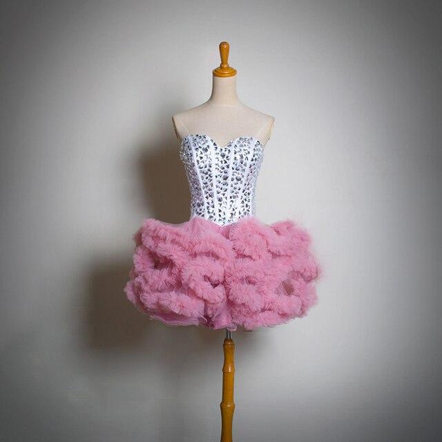 Increíble Full cristales cariño blusa del vestido de coctel por ...