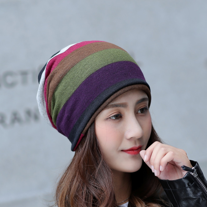 Unisex Dual-use Hat Men's Winter   Beanie   women   Skullies   Knitted Wool   Beanies   Women's Winter stripe Hats Hip Hop Caps Autumn