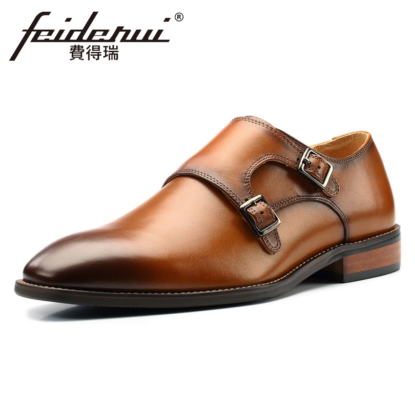 Plus Size Vintage Genuine Leather Men's Monk Straps Footwear Pointed Toe Handmade Man Italian Designer Formal Dress Shoes MLT81 hot sale mens genuine leather cow lace up male formal shoes dress shoes pointed toe footwear multi color plus size 37 44 yellow