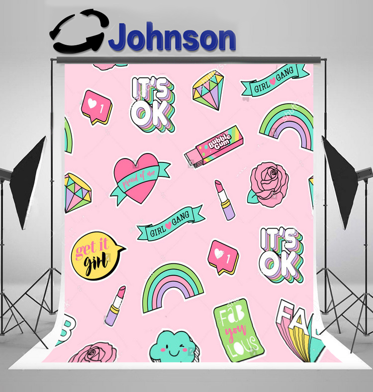 wall backdrops High quality Computer print Cute Pastel Girls Pink Rose Heart Rainbow Cloud Pink Diamonds background