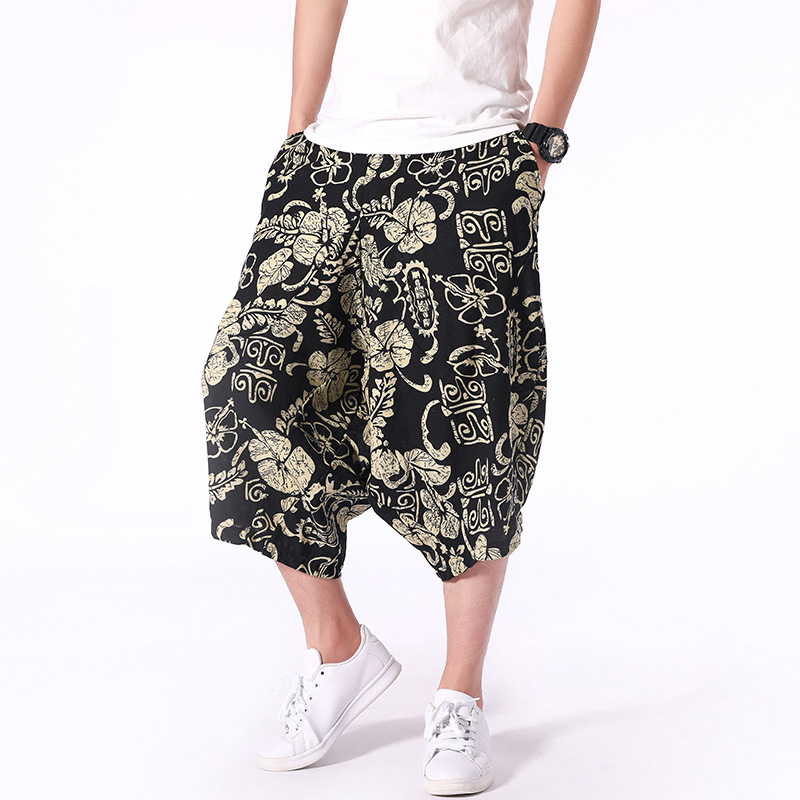 2019 Summer New Mens Shorts Retro Printed Casual Fashion Jogger Knee Length Loose Streetwear Man Hip Hop Shorts Large Size 5XL