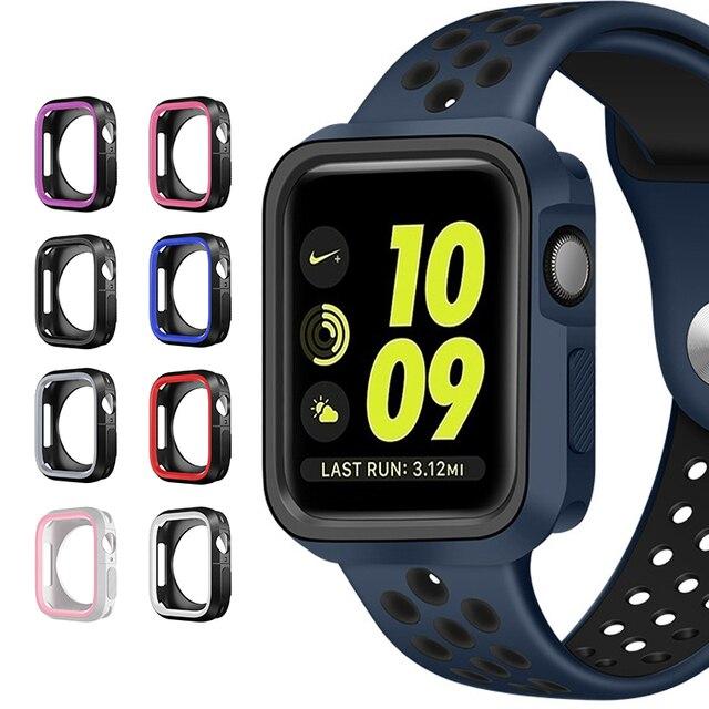 Модный Двухцветный силиконовый чехол для Apple Watch Series 1/2/3, чехол с рамкой, полная защита 42 мм, 38 мм, для i Watch 4, чехол 4