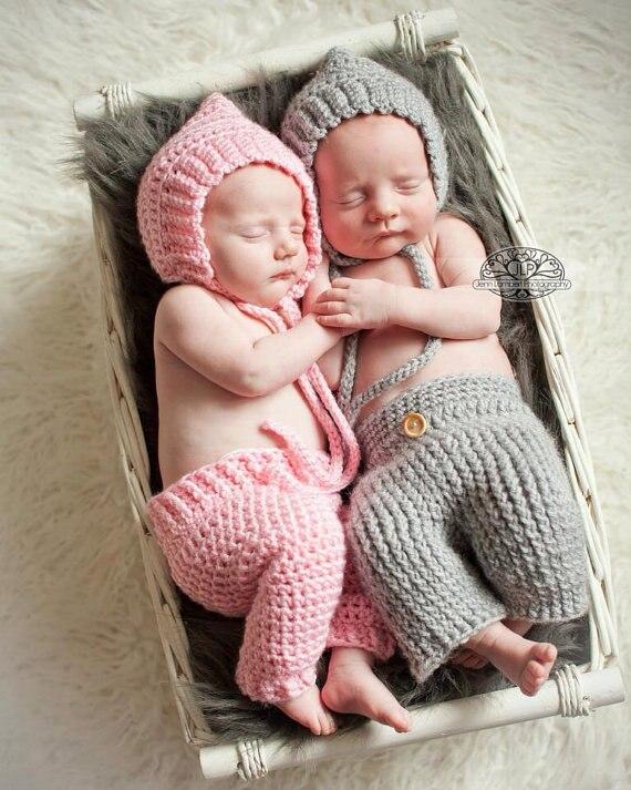 ᓂEnvío libre gris/Rosa recién nacido crochet Pixie Bonnet y Pant ...